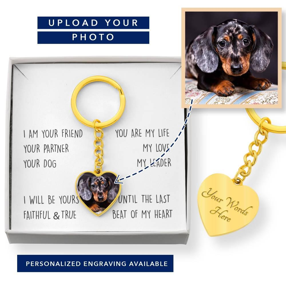 Personalized Dog Photo Heart Keychain - I am Your Friend Your Dog