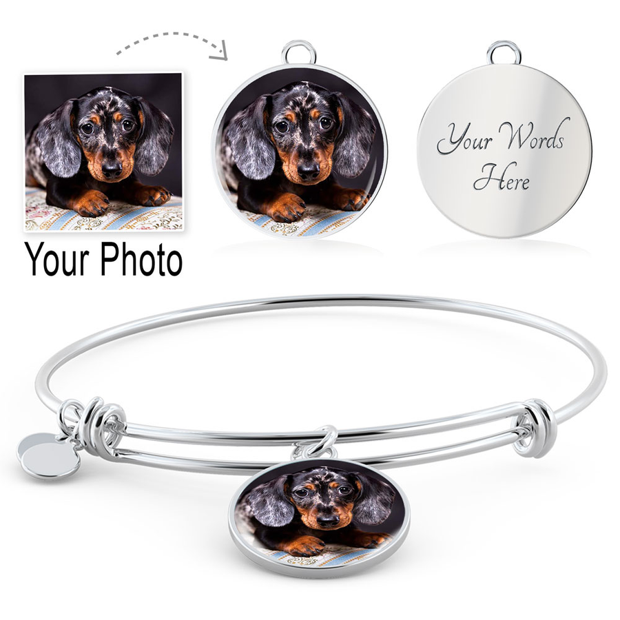 Your Personalized Photo Necklace + Bangle Circle Shaped