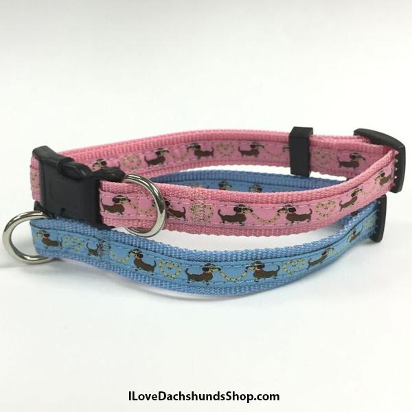 Dachshund Sausage Dog Print Leash and Collar Set