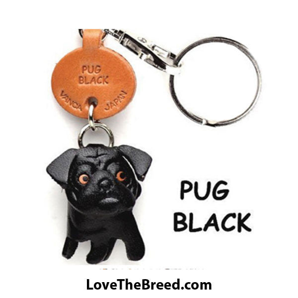 Pug Key Chain Leather Handmade