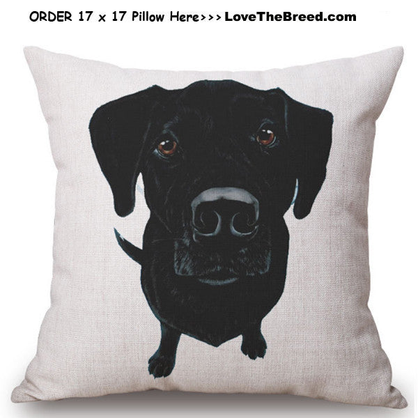 Black Labrador Photo Art Linen Pillow