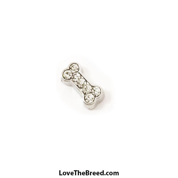 Bone Floating Charm Clear Rhinestones