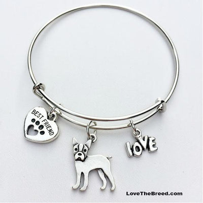 Boston Terrier Best Friend Love Charm Bracelet