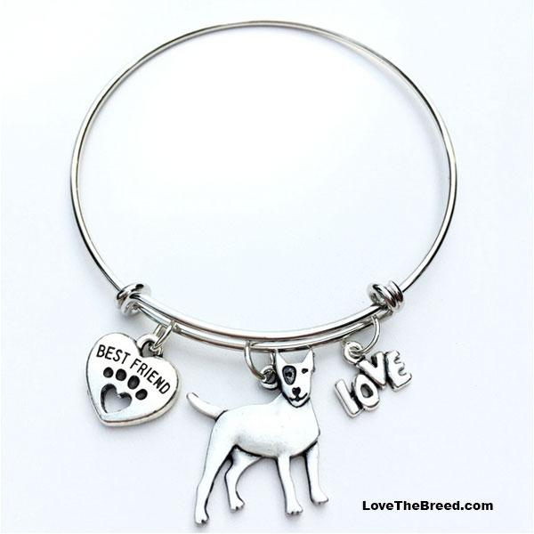 Bull Terrier Best Friend Love Charm Bracelet
