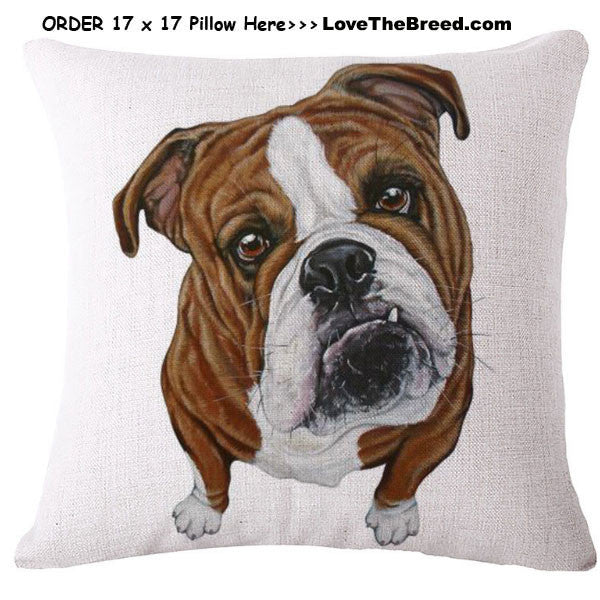 Bulldog Linen Pillow