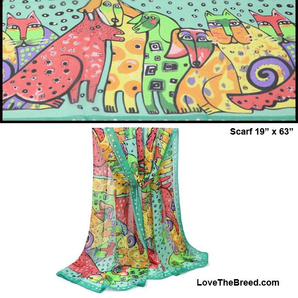 Dog and Cat Print Scarf BRIGHT COLORS