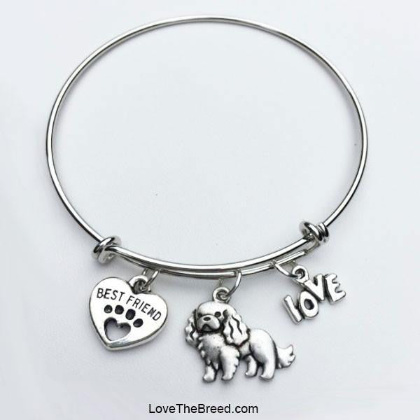 Cavalier King Charles Spaniel Best Friend Love Charm Bracelet