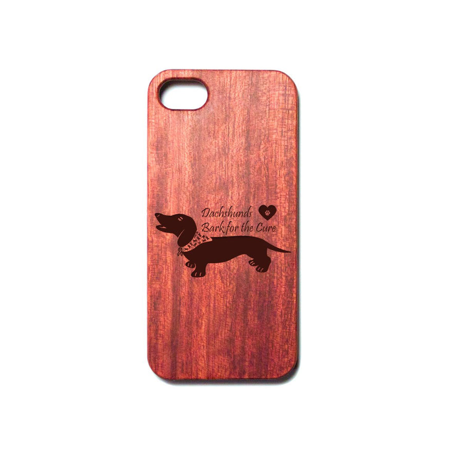 Dachshund Bark for the Cure Engraved Wooden iPhone Case