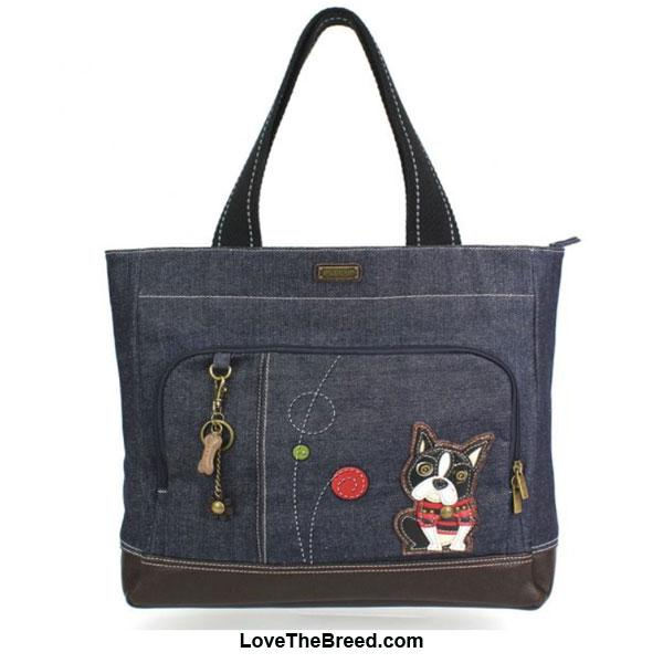Boston Terrier Chala Pocket Tote Denim