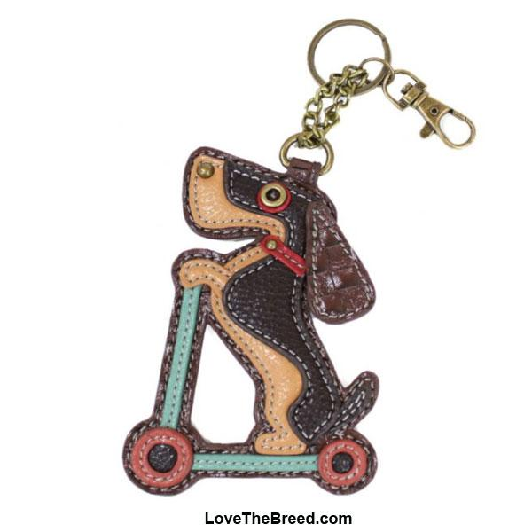 Dachshund on Scooter Key Chain Purse Charm Chala