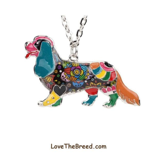 Cavalier King Charles Spaniel Colorful Enamel Necklace