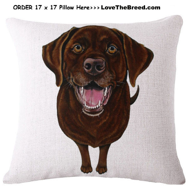 Chocolate Labrador Linen Pillow