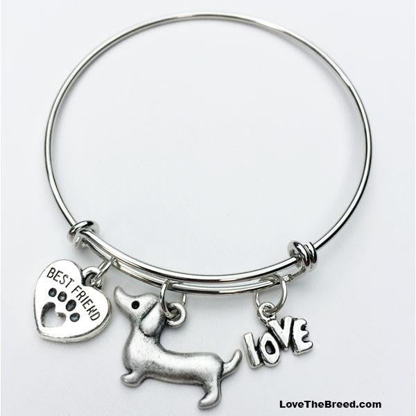 Dachshund Best Friend Love Charm Bracelet