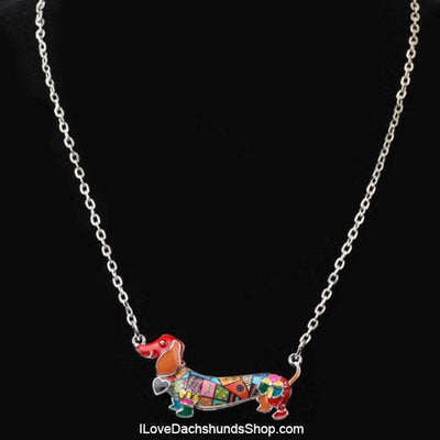 Dachshund with Heart Short Hair Enamel Necklace
