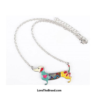 Dachshund Colorful Enamel Necklace