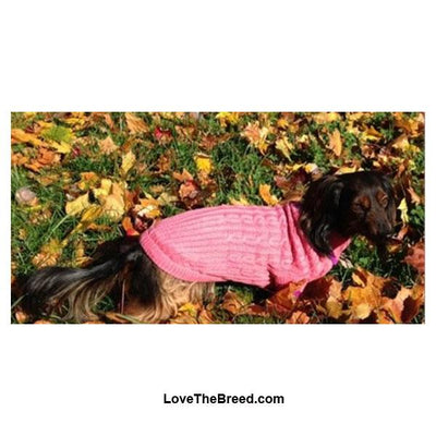 Dog Sweater Classic Cable Knit Pink