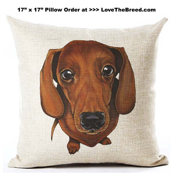 Dachshund Short Hair Red Pillow 17 inch