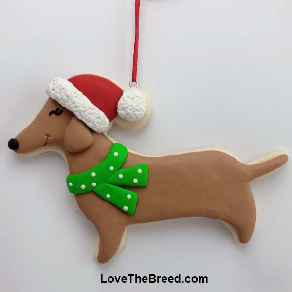 Dachshund Santa Sugar Cookie Handmade Ornament Collectible