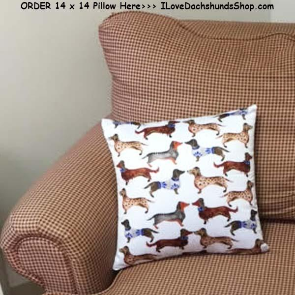 Dachshund Pillow Multi Satin 14