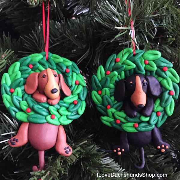 Dachshund in Wreath Ornament Dangle Handmade