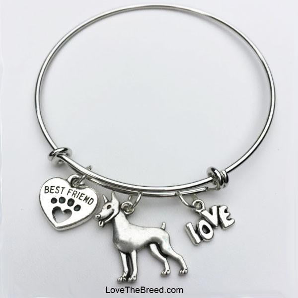 Doberman Best Friend Love Charm Bracelet