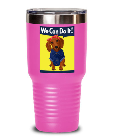 Dachshund Brown Rosie the Riveter Tumbler