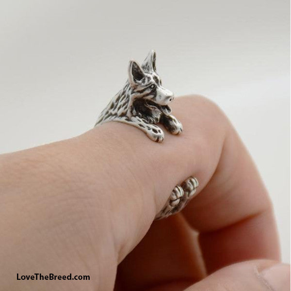 German Shepherd Wrap Around 3D Ring