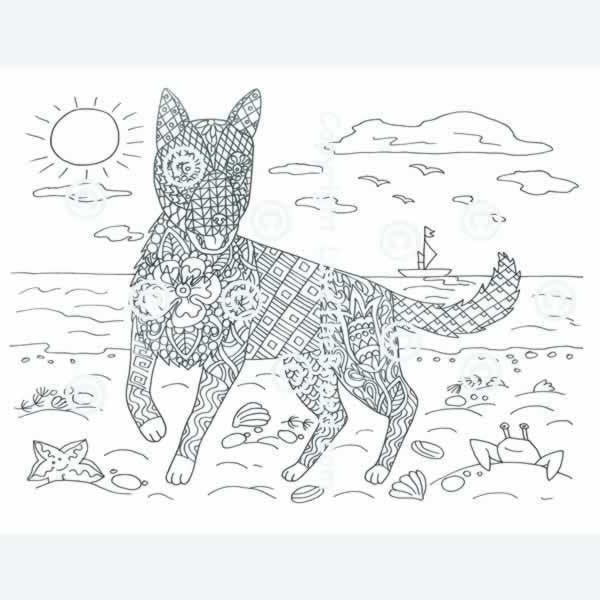 German Shepherd Coloring Book for Adults and Children ...