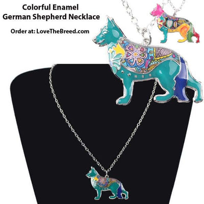 German Shepherd Colorful Enamel Necklace