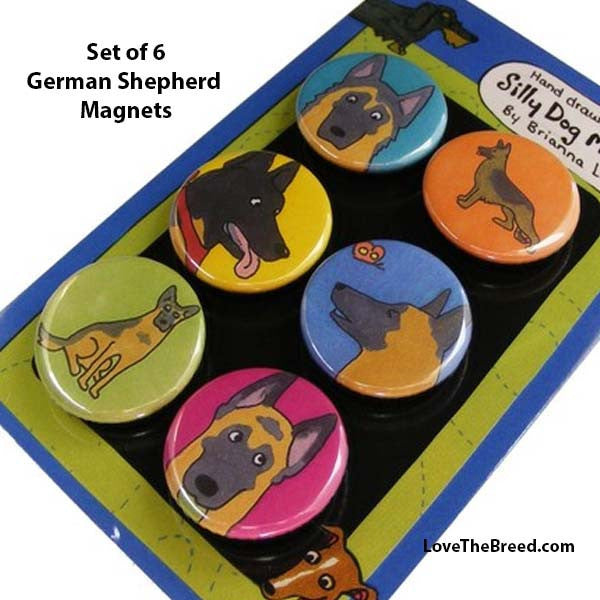 German Shephers Magnets Set of 6