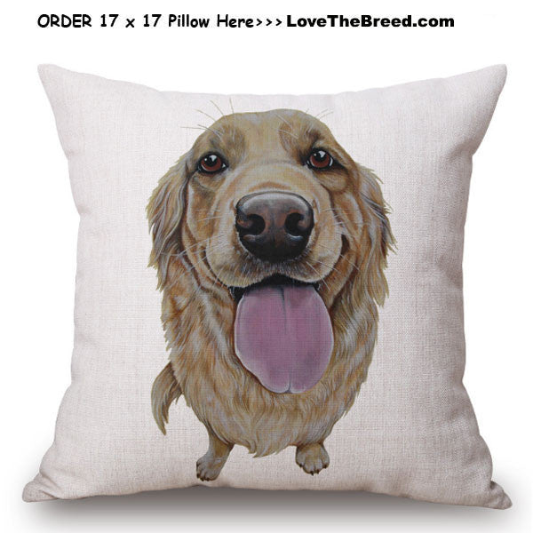 Golden Retriever Photo Art Linen Pillow