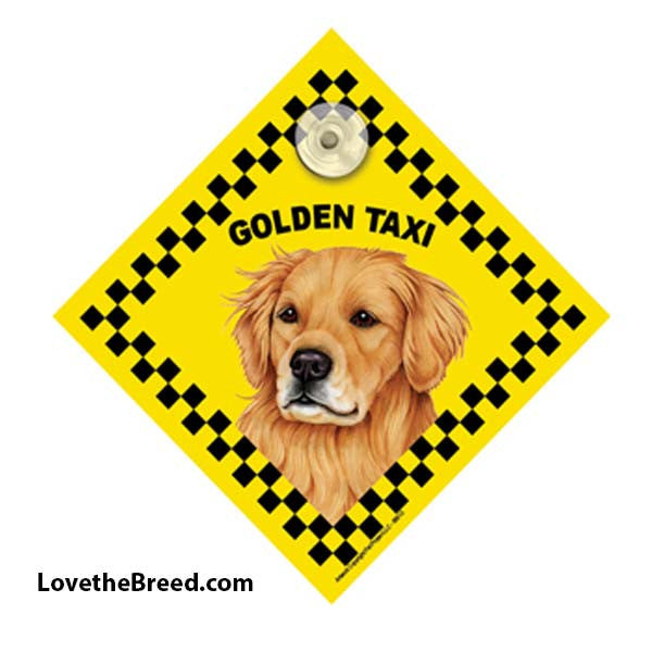 Golden Retriever Taxi Car Sign