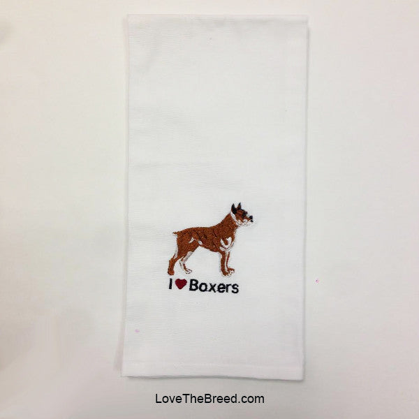 I Love Boxers Embroidered Hand Towel