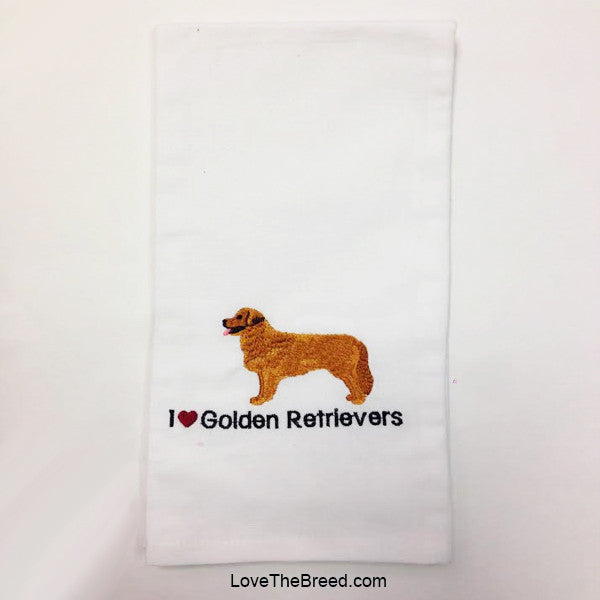 I Love Golden Retrievers Embroidered Hand Towel