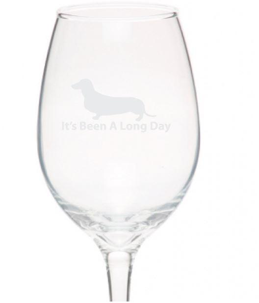 Dachshund Wine Glass It's Been A Long Day 10oz