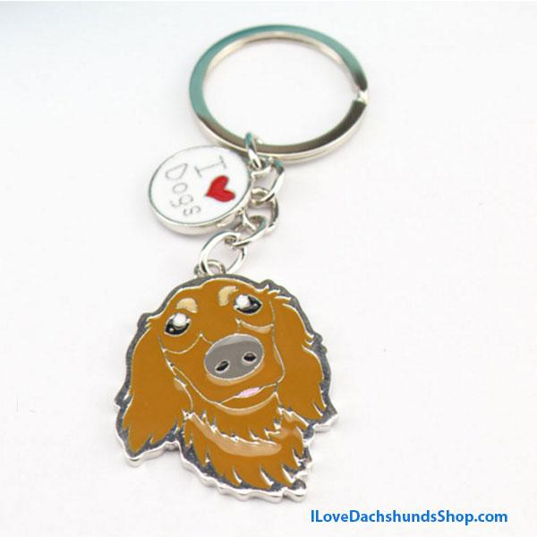 Long Hair BROWN Dachshund Key Chain I Love Dogs