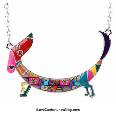 Dachshund with Heart Long Hair Enamel Necklace