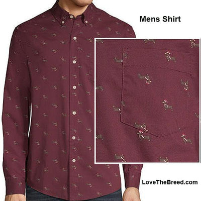 Mens Dachshund Holiday Button Down Shirt