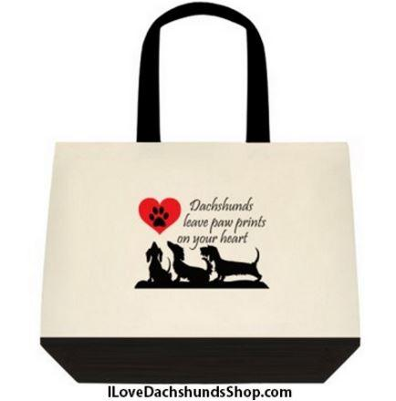Dachshunds Leave Paw Prints on Your Heart Extra Large Tote