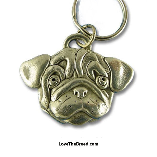 Pug Pewter Key Chain