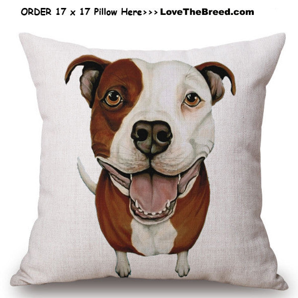 Pit Bull Photo Art Linen Pillow