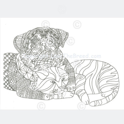 Pug Coloring Book for Adults and Children - Volume 2
