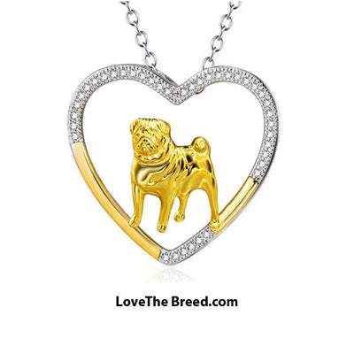 Pug Heart Silver and Gold Necklace