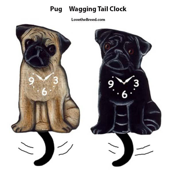 Pug Wagging Tail Clock