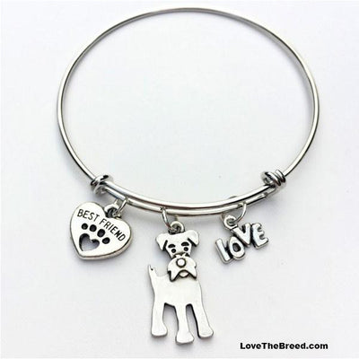 Schnauzer Best Friend Love Charm Bracelet
