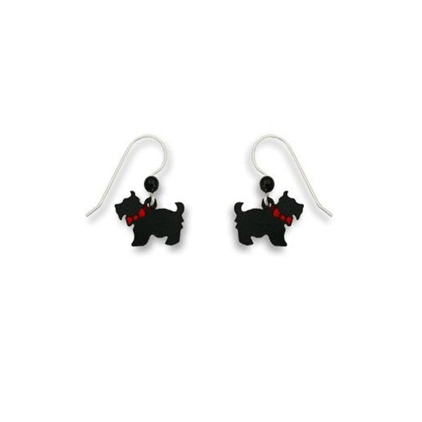 Scottish Scottie Terrier with Red Bow Earrings Sienna Sky