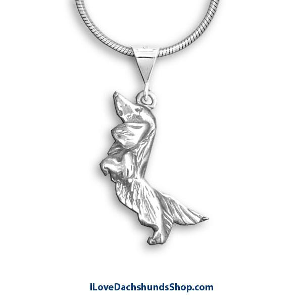 Dachshund Necklace Begging Long Hair Sterling Silver