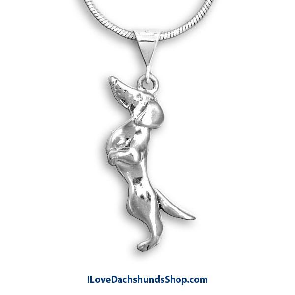 Dachshund Necklace Begging Short Hair Sterling Silver