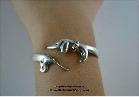 Dachshund Bangle Bracelet Sterling Silver FREE SHIPPING TODAY