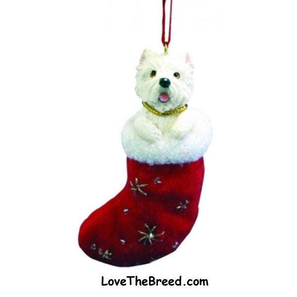West Highland Terrier Holiday Ornament in Stocking